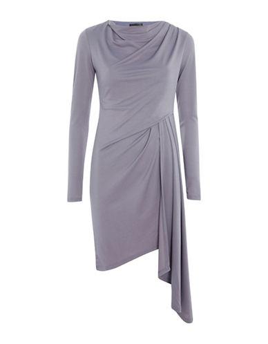 Topshop Asymmetric Crepe Drape Mini Wrap Dress-GREY-UK 6/US 2