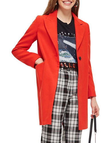 Topshop Twist Seam Crombie Coat-RED-UK 14/US 10