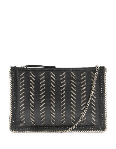 Topshop Mia Leather Chain Clutch-BLACK-One Size