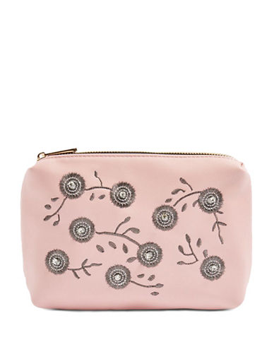 Topshop Riley Embroidered Makeup Bag-PINK-One Size