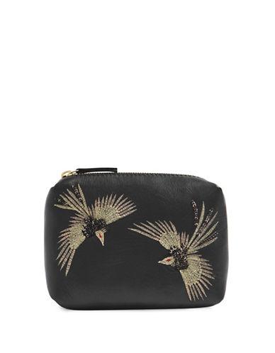 Topshop Leather Bird Makeup Bag-BLACK-One Size