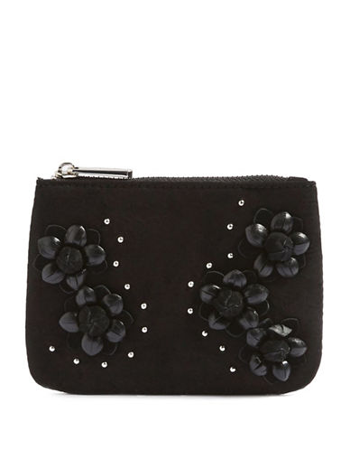 Topshop Rose Zip-Top Purse-BLACK-One Size