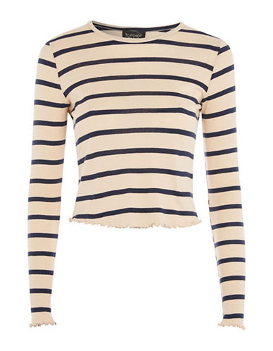 Topshop TALL Lettuce Stripe Top-NUDE-UK 14/US 10