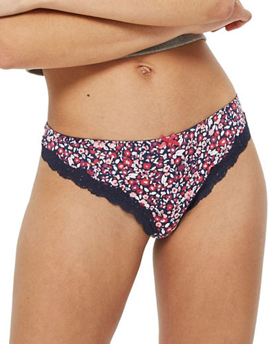 Topshop Floral Microfibre Thong-RED-UK 12/US 8