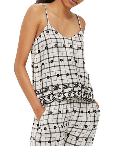 Topshop Windowpane Embroidered Cami-WHITE-UK 10/US 6