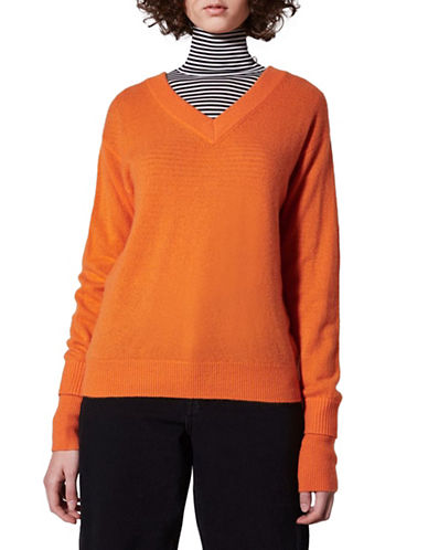 Topshop V-Neck Cashmere Sweater by Boutique-ORANGE-Small