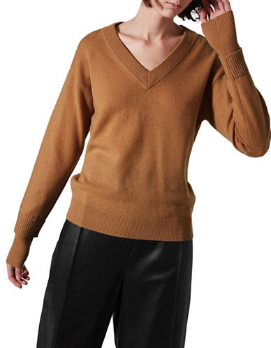 Topshop V-Neck Cashmere Sweater by Boutique-CAMEL-Large