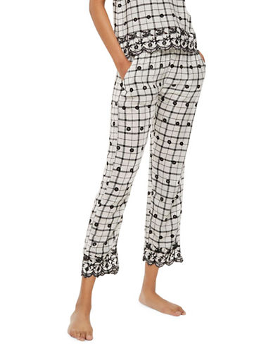 Topshop Windowpane Embroidered Trousers-WHITE-UK 6/US 2