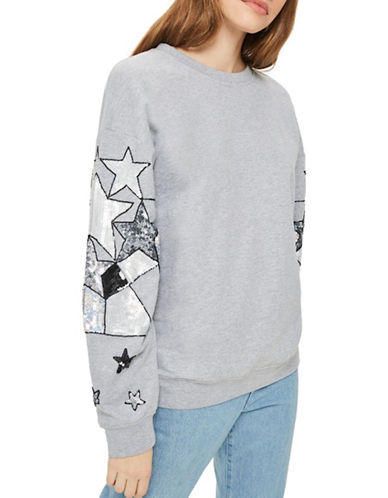 Topshop Star Sequin Sleeve Sweater-GREY MARL-UK 6/US 2