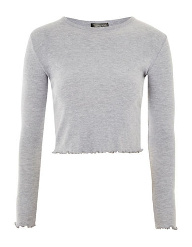 Topshop Lettuce Hem Crop Top-GREY MARL-UK 8/US 4