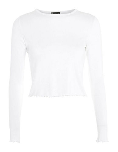 Topshop Lettuce Hem Crop Top-WHITE-UK 8/US 4