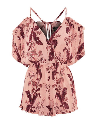 Topshop Floral Cold-Shoulder Playsuit-BLUSH-Medium