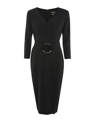 Topshop O-Ring Shift Dress-BLACK-UK 10/US 6