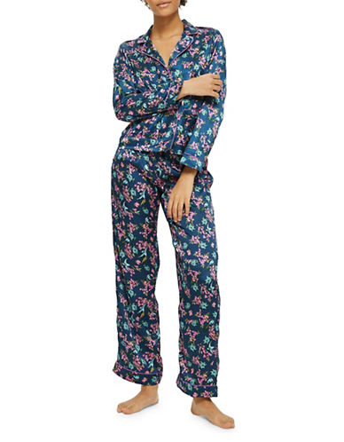 Topshop Satin Bird Print Two-Piece Pyjama Set-MULTI-UK 8/US 4
