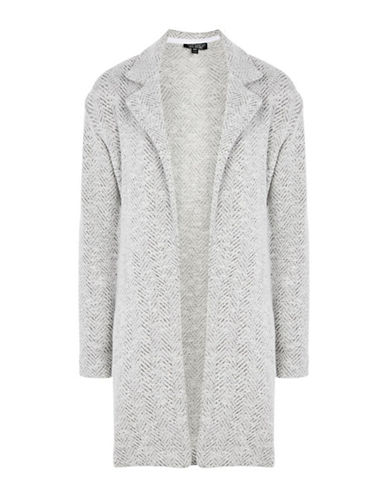 Topshop Textured Jersey Coat-IVORY-UK 12/US 8