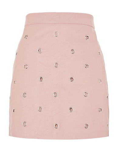 Topshop Eyelet Mini Skirt-BLUSH-UK 6/US 2