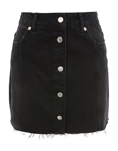 Topshop MOTO Denim Mini Skirt-WASHED BLACK-UK 6/US 2