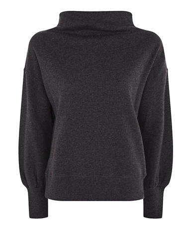 Topshop Slash Neck Sweater-CHARCOAL-UK 8/US 4