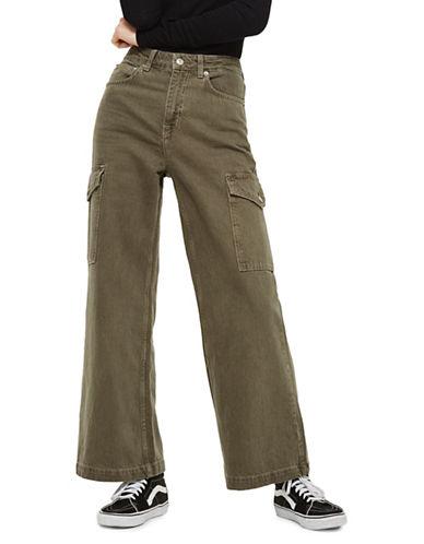 Topshop Cargo Wide Leg Cropped Jeans-KHAKI-28X30