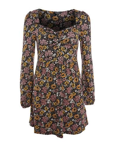 Topshop PETITE Floral Mini Dress-BLACK-UK 10/US 6
