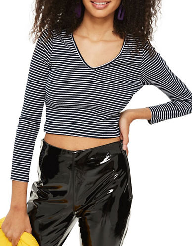 Topshop PETITE Stripe Kaia Crop Top-BLUE-UK 8/US 4 89791617_BLUE_UK 8/US 4