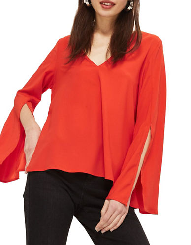 Topshop PETITE V-Neck Blouse-RED-UK 12/US 8