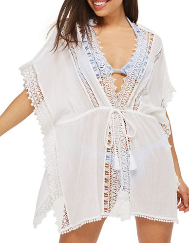 Topshop Crochet Trim Caftan-WHITE-Small