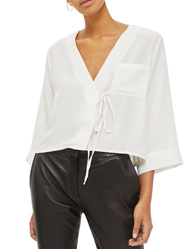 Topshop Tara Tie Wrap Blouse-IVORY-UK 12/US 8