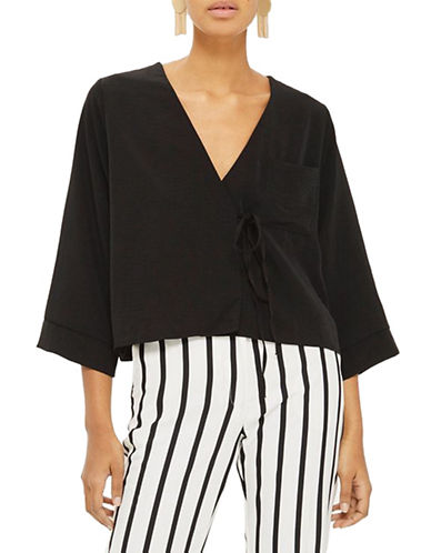 Topshop Tara Tie Wrap Blouse-BLACK-UK 12/US 8