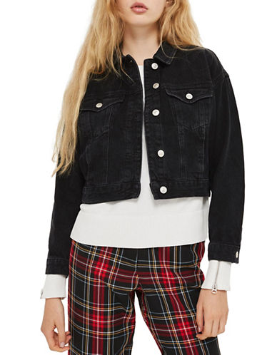 Topshop PETITE Matilda Denim Jacket-WASHED BLACK-UK 12/US 8