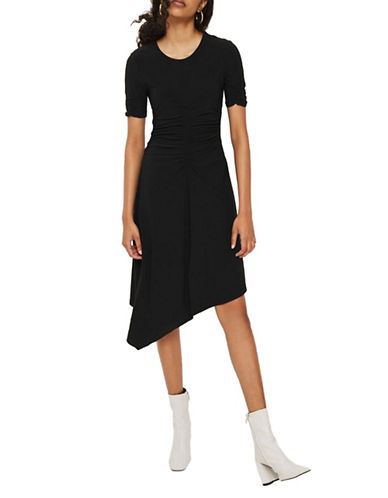 Topshop PETITE Ruche Front Midi Dress-BLACK-UK 6/US 2