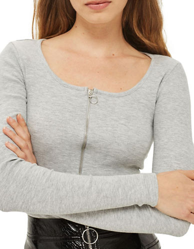 Topshop PETITE Ring Pull Bodysuit-GREY-UK 4/US 0