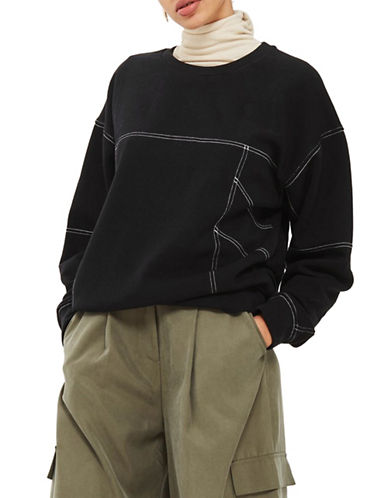 Topshop PETITE Stab Stitch Sweatshirt-BLACK-UK 4/US 0
