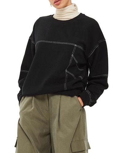 Topshop PETITE Stab Stitch Sweatshirt-BLACK-UK 6/US 2