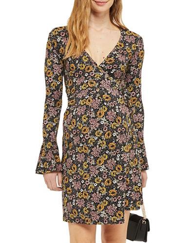 Topshop MATERNITY Floral Wrap Dress-BLACK-UK 10/US 6