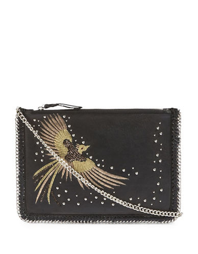 Topshop Ava Leather Bird Crossbody Bag-BLACK-One Size