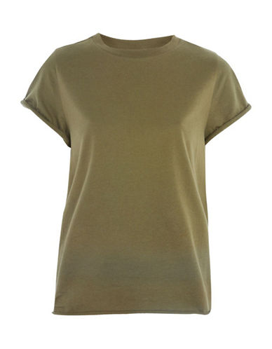 Topshop Cuffed Crew Neck Tee-KHAKI-UK 12/US 8