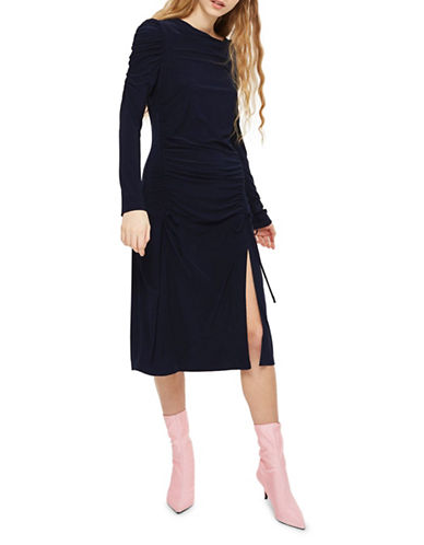 Topshop Ruched Midi Dress-NAVY BLUE-UK 6/US 2