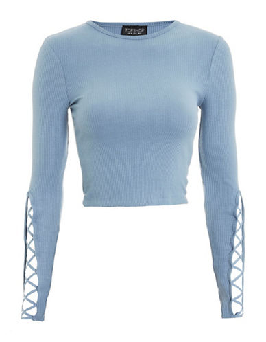Topshop Lattice Sleeve Ribbed Cropped Top-BLUE-UK 16/US 12