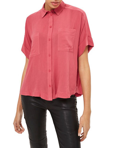 Topshop Joey Button-Up Shirt-DARK PINK-UK 12/US 8