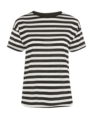 Topshop Stripe Marl T-Shirt-MONOCHROME-UK 14/US 10
