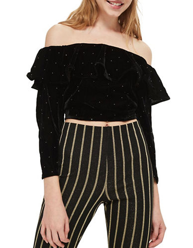 Topshop Pinstud Velvet Bardot Top-BLACK-UK 10/US 6