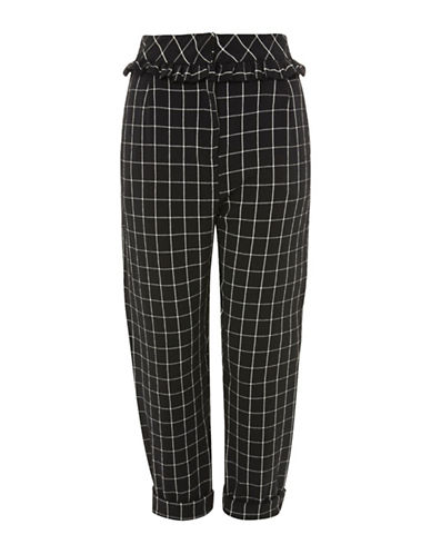 Topshop PETITE Checked Ruffle Peg Trousers-MONOCHROME-UK 4/US 0