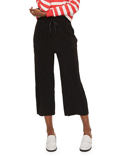 Topshop PETITE Ruffle Waist Plisse Trousers-BLACK-UK 6/US 2