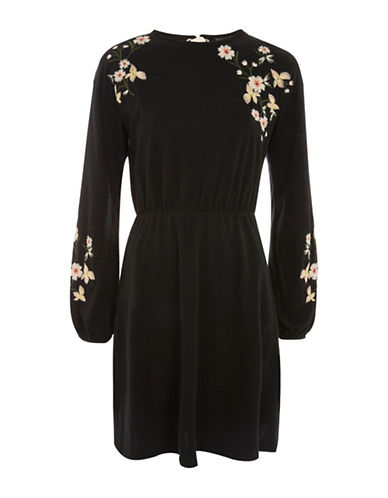 Topshop Embroidered Balloon-Sleeved Dress-BLACK-UK 10/US 6