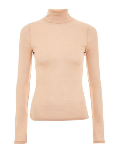 Topshop PETITE Fine Funnel Neck Sweater-NUDE-UK 8/US 4
