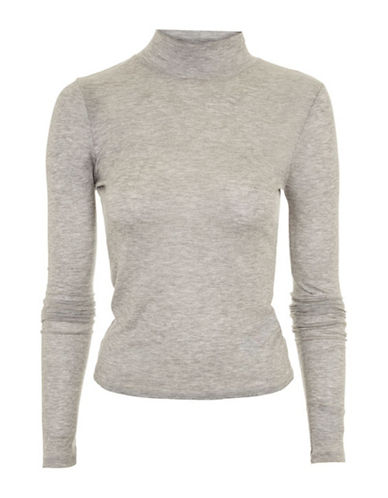 Topshop PETITE Fine Funnel Neck Sweater-GREY MARL-UK 12/US 8