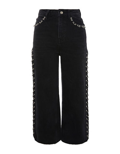 Topshop MOTO Washed Pierced Cropped Wide-Leg Jeans 30-Inch Leg-WASHED BLACK-26X30