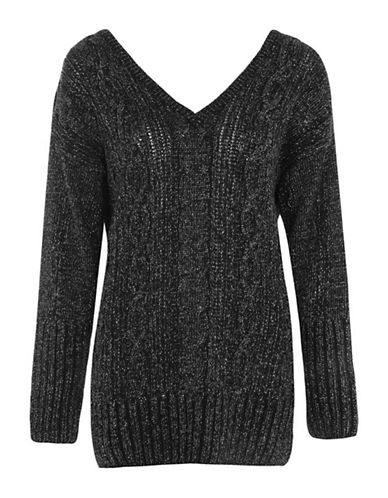 Topshop Lurex Cable Knit Sweater-CHARCOAL-UK 12/US 8