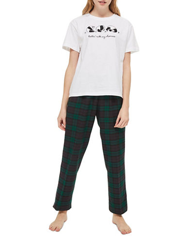 Topshop Rolling Embroidered Pyjama Set-GREEN-UK 16/US 12
